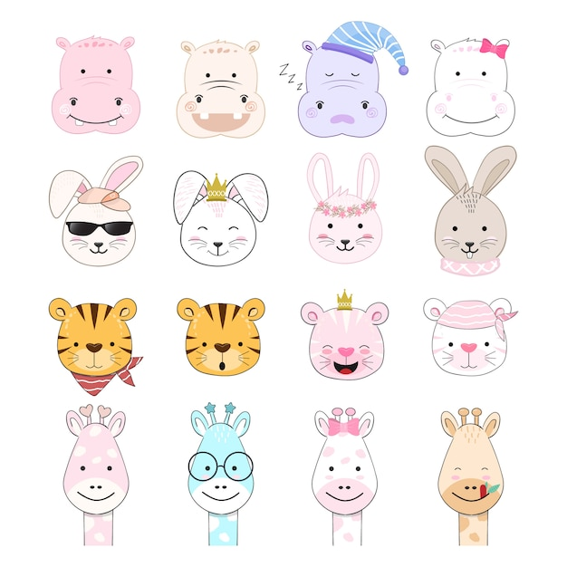 Cute baby animal cartoon hand drawing set Premium Vector