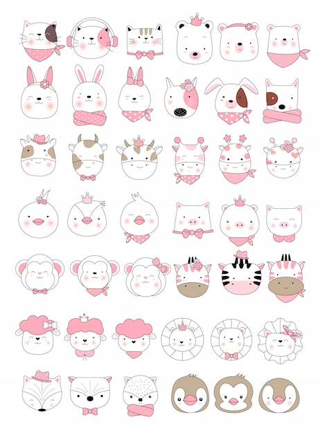 Cute baby animal cartoon hand drawn style Premium Vector