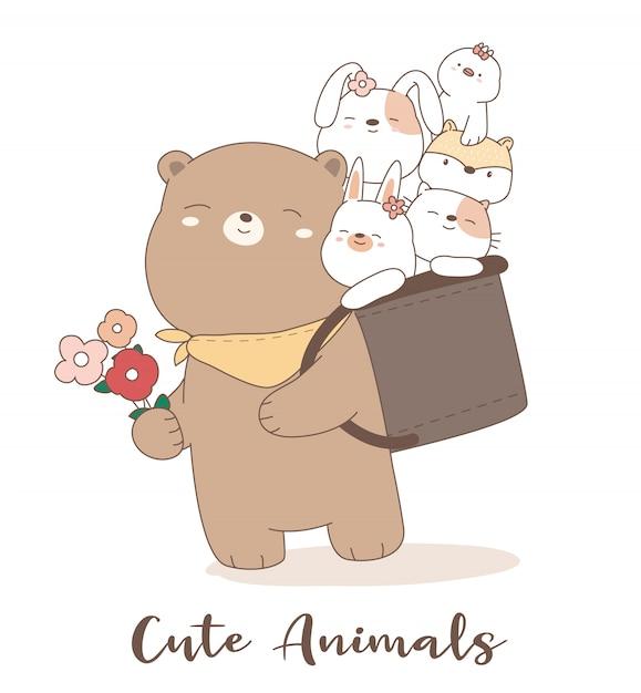 Cute baby animal cartoon hand drawn style Premium Vector
