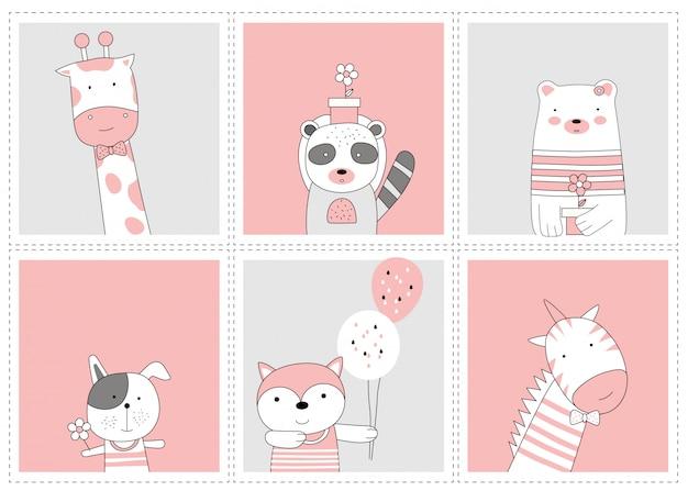 The cute baby animal. cartoon sketch animal style Premium Vector