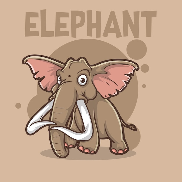 Cute baby animal elephant wildlife mascot cartoon logo character editable Premium Vector