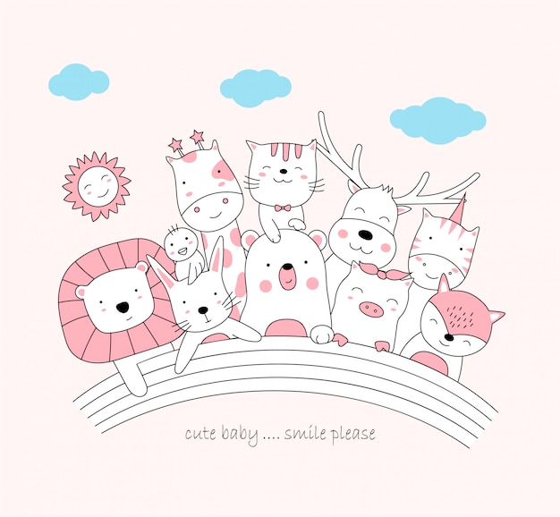 The cute baby animal and rainbow. Premium Vector