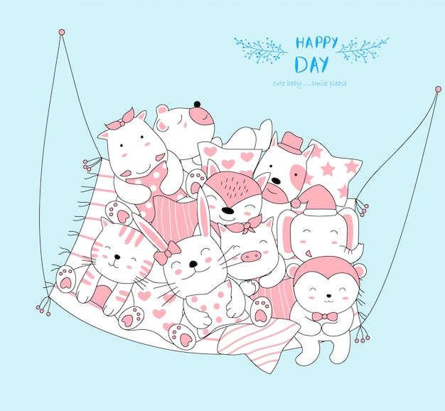 The cute baby animal relax and happy to everyday. cartoon sketch animal style Premium Vector