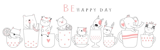 Cute baby animal with cup cartoon hand drawn style Premium Vector