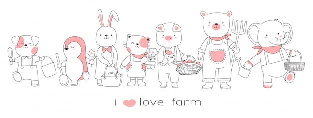 Cute baby animal with the farm cartoon hand drawn style Premium Vector