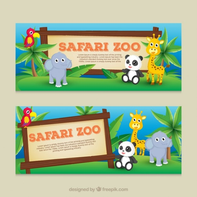 Cute baby animals banners