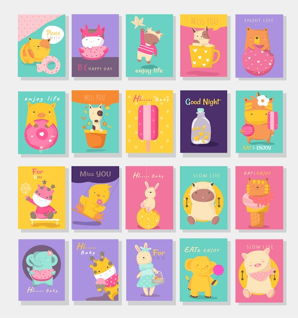 Cute baby animals card cartoon style Premium Vector