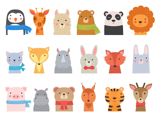 Cute baby animals. children funny wild alphabet animals hippo fox bear hand drawn collection. illustration cute fox and giraffe, character cat and hippopotamus Premium Vector