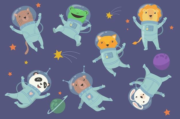 Симпатичные животные в космосе плоский набор Бесплатные векторы