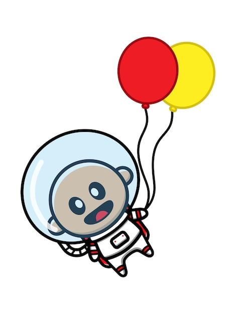 風船を保持しているかわいい赤ちゃん宇宙飛行士漫画アイコンイラスト Premiumベクター