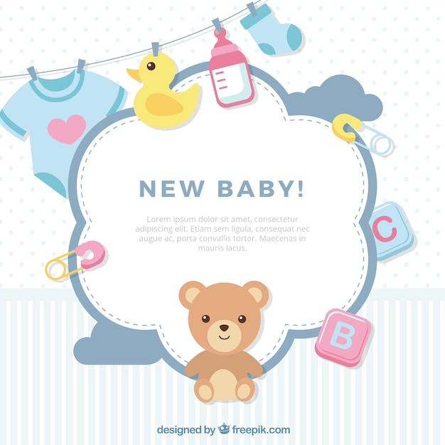 Cute baby background in flat style Free Vector