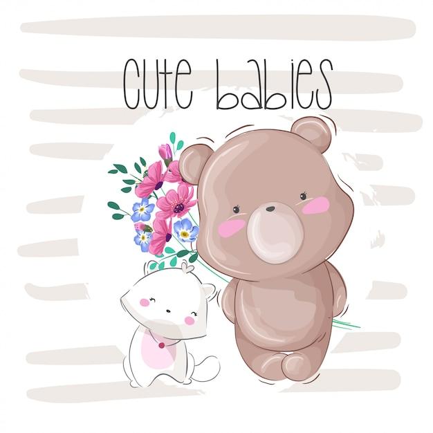 Милый ребенок медведь животных illstration для детей Premium векторы