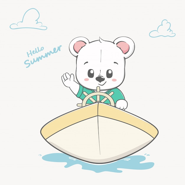 Cute baby bear on boat hello summer Premium Vector