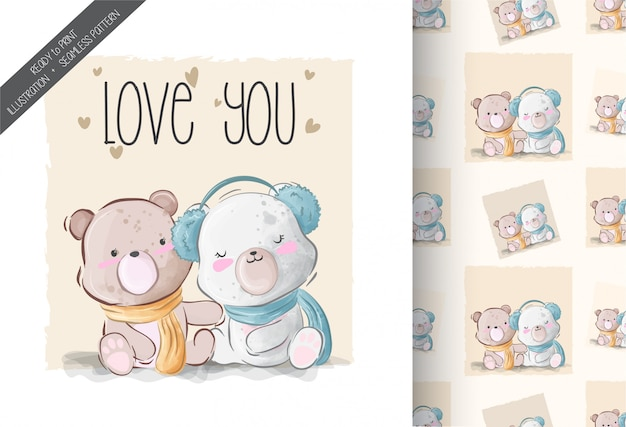 Cute baby bear lovely illustration with seamless pattern Premium Vector