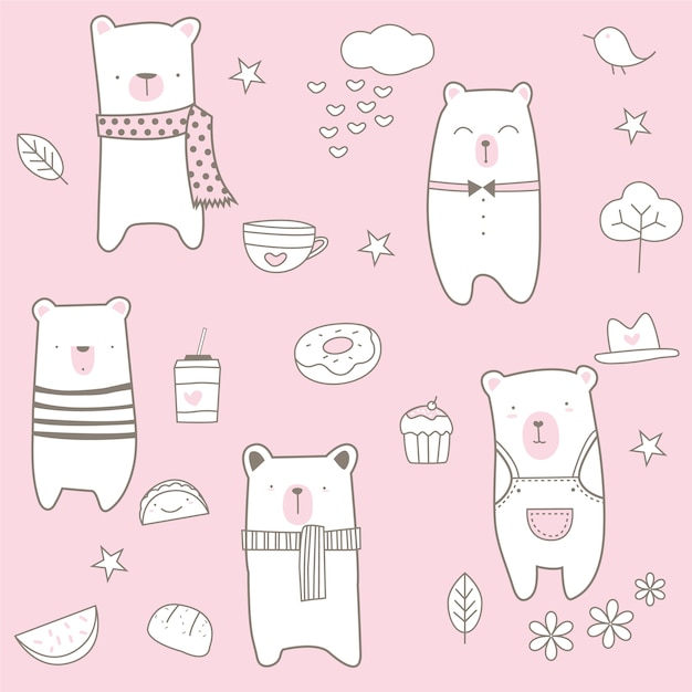 Cute baby bear seamless pattern Premium Vector