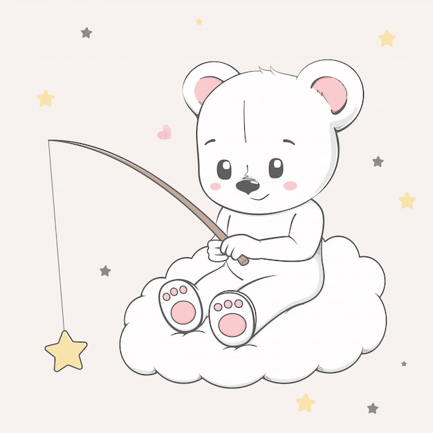 Cute baby bear sit on the cloud and catching stars Premium Vector