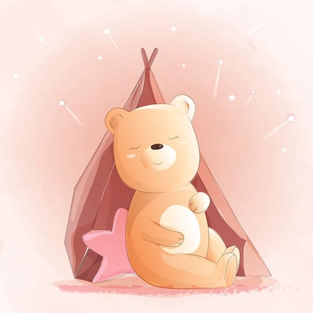 Cute baby bear watercolor style Premium Vector