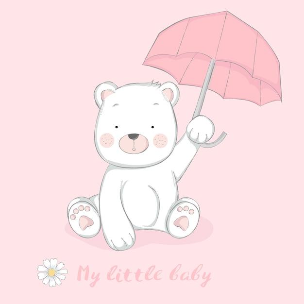 傘の漫画の手で描かれたかわいい赤ちゃんのクマ Premiumベクター