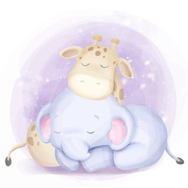 Cute baby born elephant and giraffe sleep Premium Vector