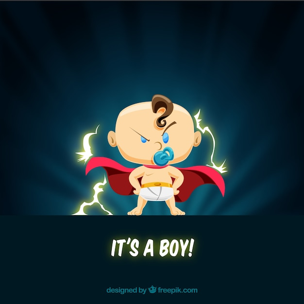 Cute baby boy background in flat style Free Vector