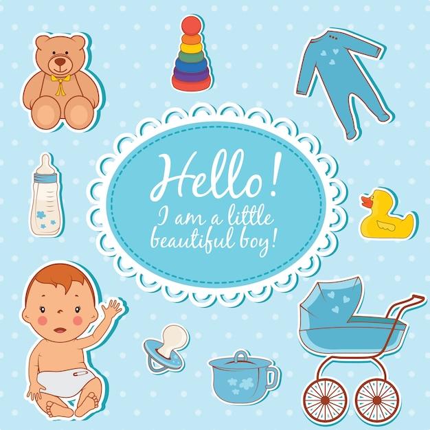 Cute baby boy hello card Premium Vector