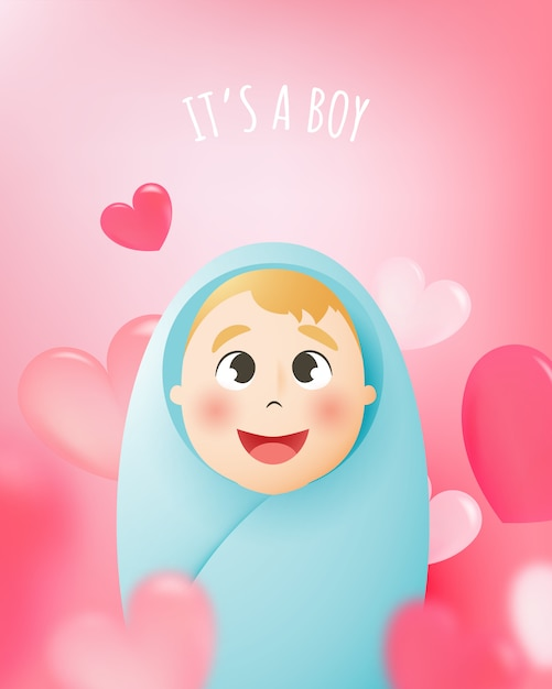 Cute baby boy with pastel scheme and paper art vector illustration Premium Vector