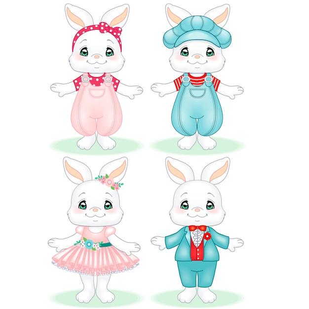 Cute baby bunny couple boy and girl Premium Vector