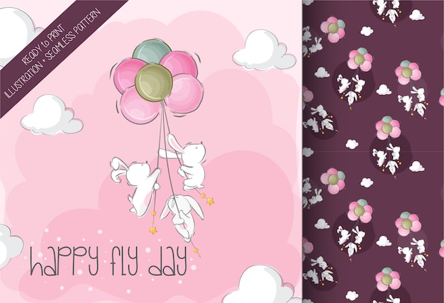 Cute baby bunny flying with air balloon cute animal seamless pattern Premium Vector