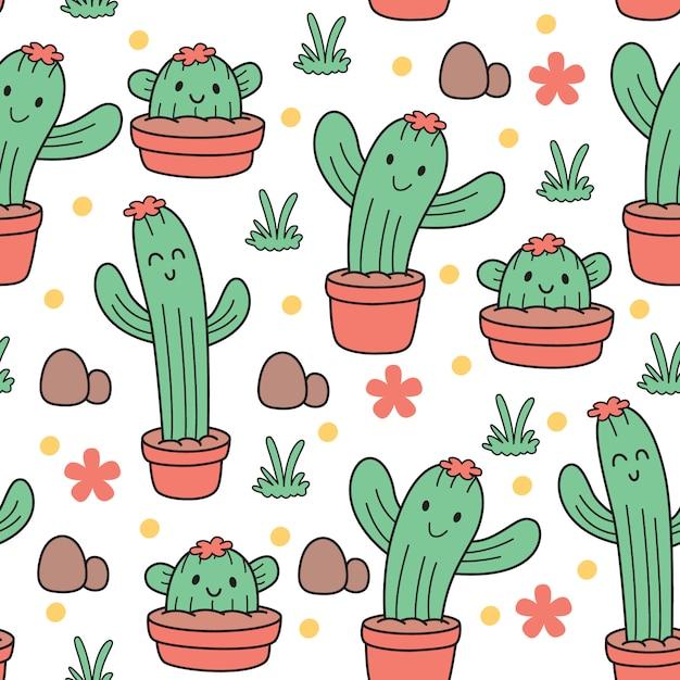 Cute baby cactus seamless pattern Premium Vector