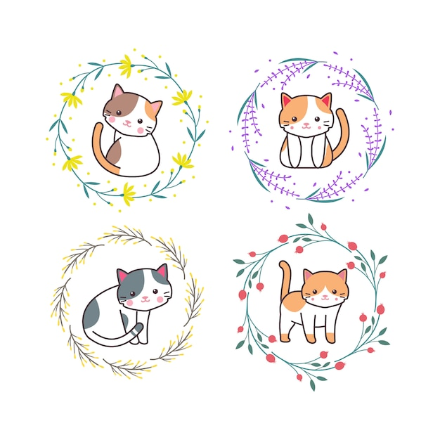 Cute baby cat animal with floral wreath cartoon hand drawn style Premium Vector