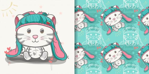 Cute baby cat cartoon with seamless pattern Premium Vector