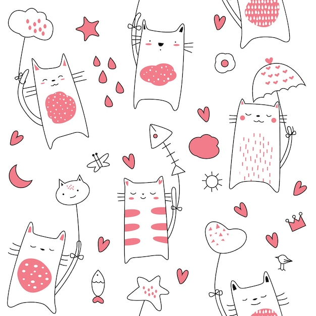 Cute baby cat seamless pattern Premium Vector