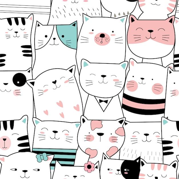 Cute baby cat seamless pattern Premium Vector