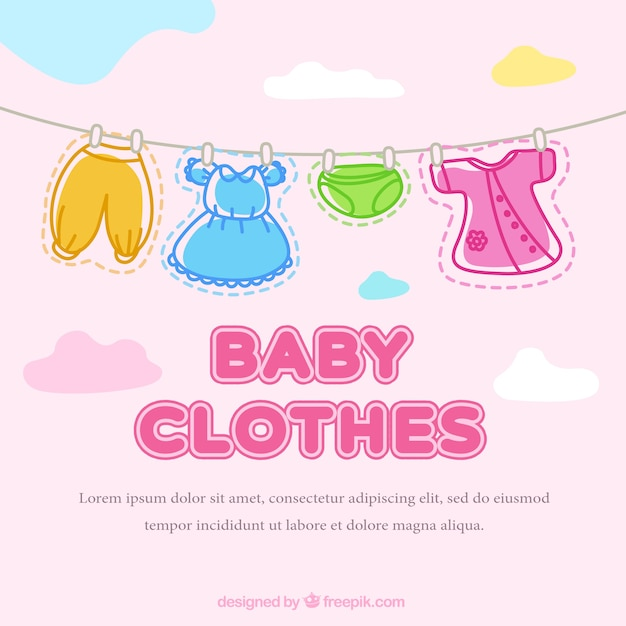 f6083cdb7 Cute baby clothes hanging on a rope background Vector