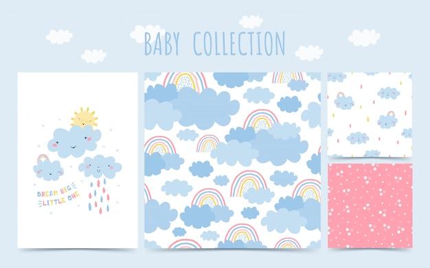 무지개, 구름, 아기 비 귀여운 아기 컬렉션 완벽 한 패턴입니다. 어린이 방 디자인에 대 한 손으로 그린 스타일 배경. 프리미엄 벡터