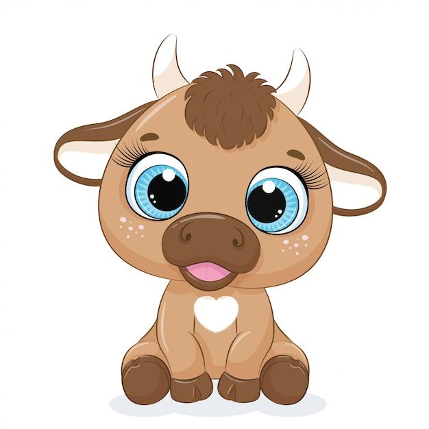 Милый ребенок корова мультфильм Premium векторы