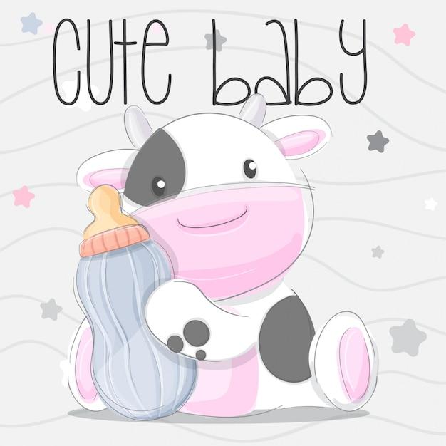 Cute Baby Cow Hand Draw Illustration Vector Vector Premium Download