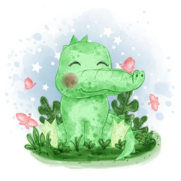 귀여운 아기 악어는 잔디에 나비와 함께 압수됩니다 무료 벡터