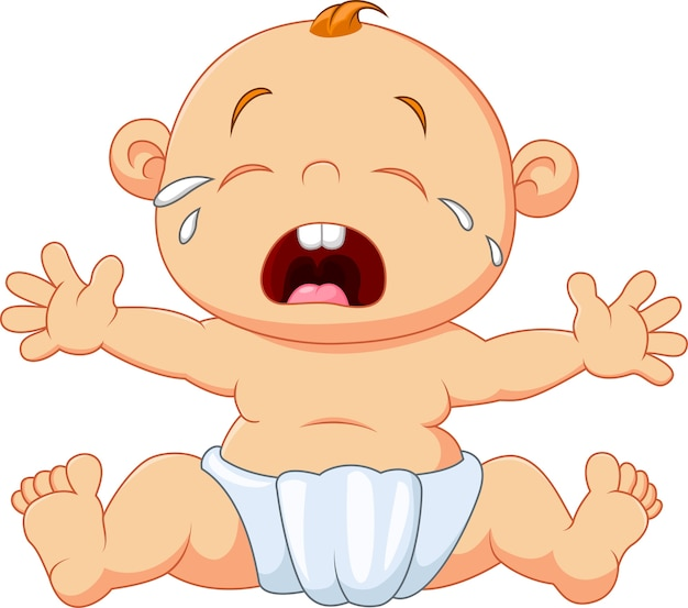 Cute baby crying isolated on white background Premium Vector