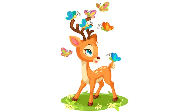 Cute baby deer and butterflies playing Premium Vector