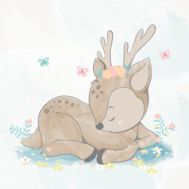 Милый ребенок олень заснул акварель цвета рисованной иллюстрации Premium векторы