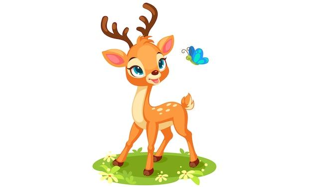 Cute baby deer looking at butterfly Free Vector