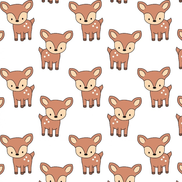 Cute baby deer pattern Premium Vector