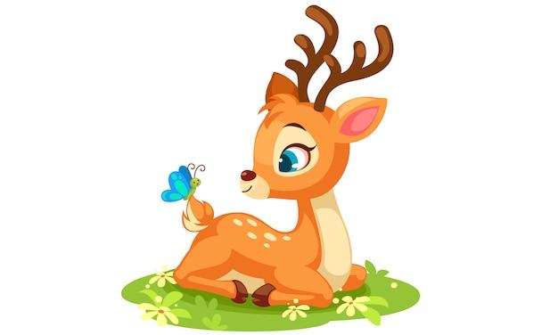 Cute baby deer sitting vector Free Vector