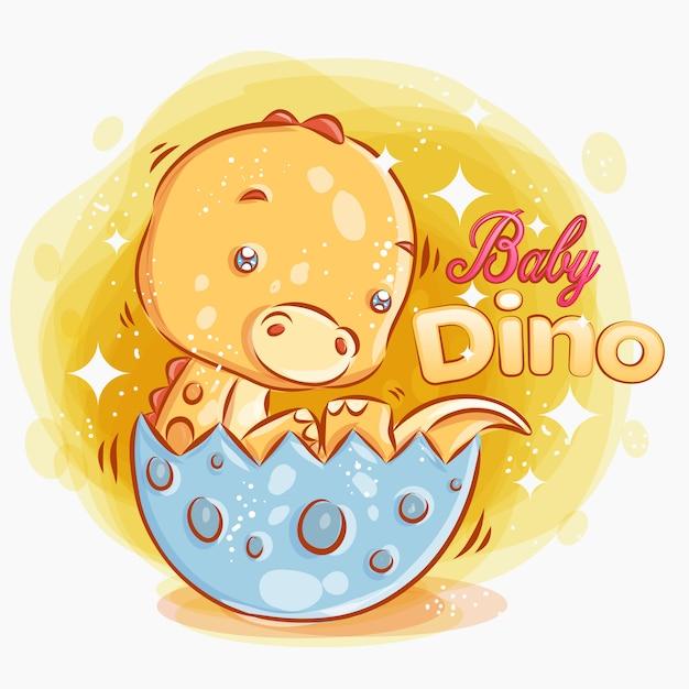 귀여운 아기 디노는 계란에서 꺼내 다채로운 만화 일러스트 레이 션. 프리미엄 벡터