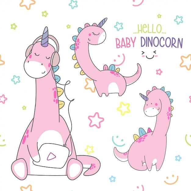 Cute baby dino seamless pattern Premium Vector