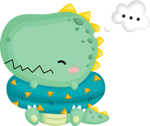 A cute baby dinosaur with thinking about stuff Free Vector