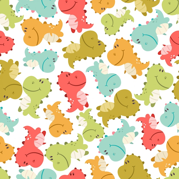 Cute baby dinosaurs vector seamless pattern on white background for wallpaper, wrapping, packing, and backdrop. Premium Vector