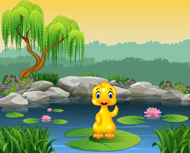 Cute baby duck waving on the lily water Premium Vector