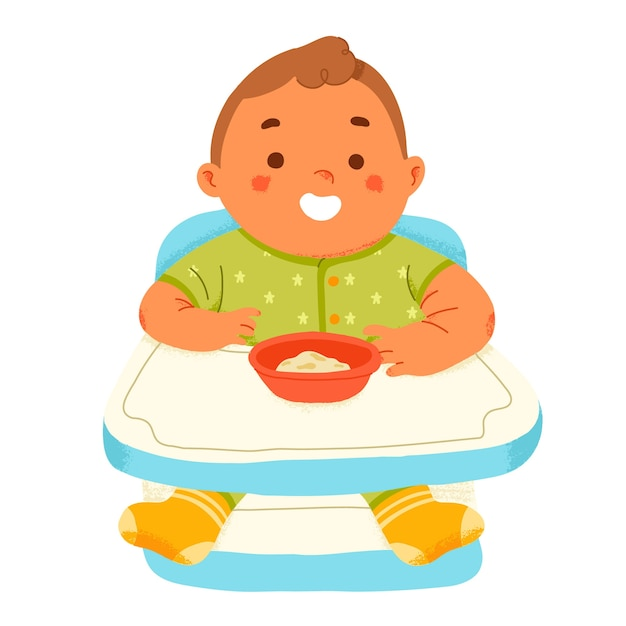 Cute baby eat complementary feeding puree in highchair Free Vector